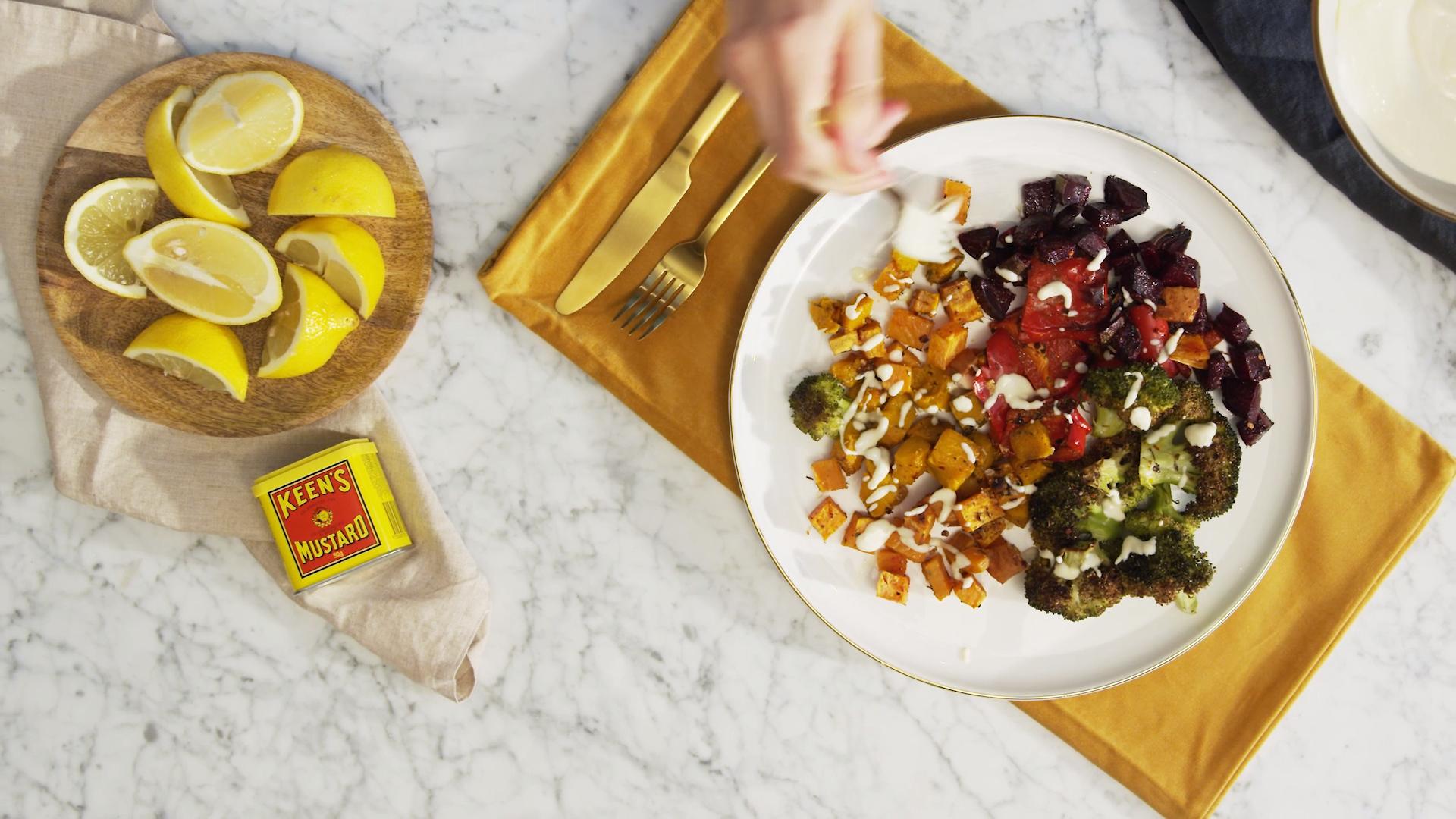 Rainbow roast vegetable salad with honey mustard dressing