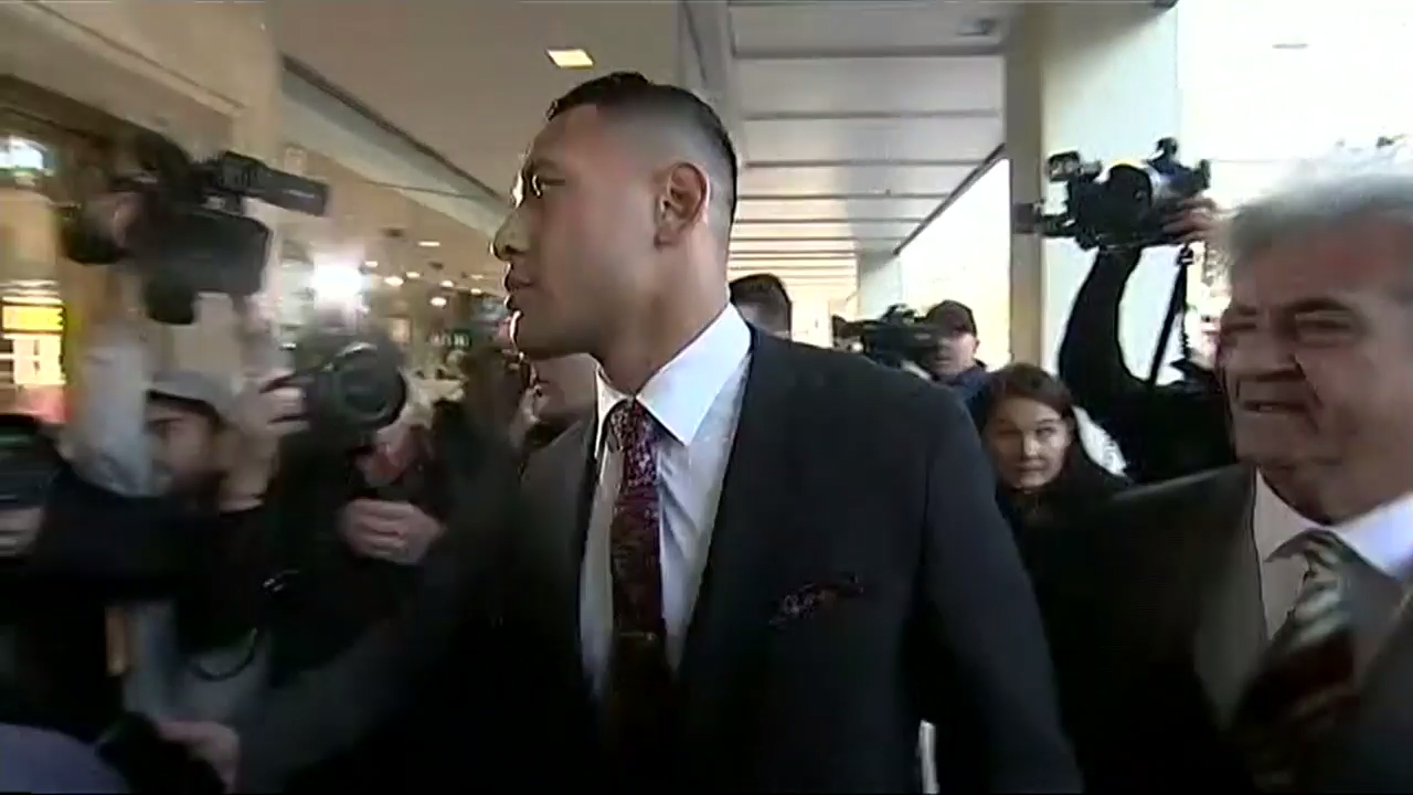 Israel Folau arrives at Fair Work Commission