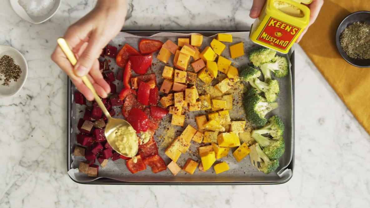 KEEN's rainbow roast vegetable salad