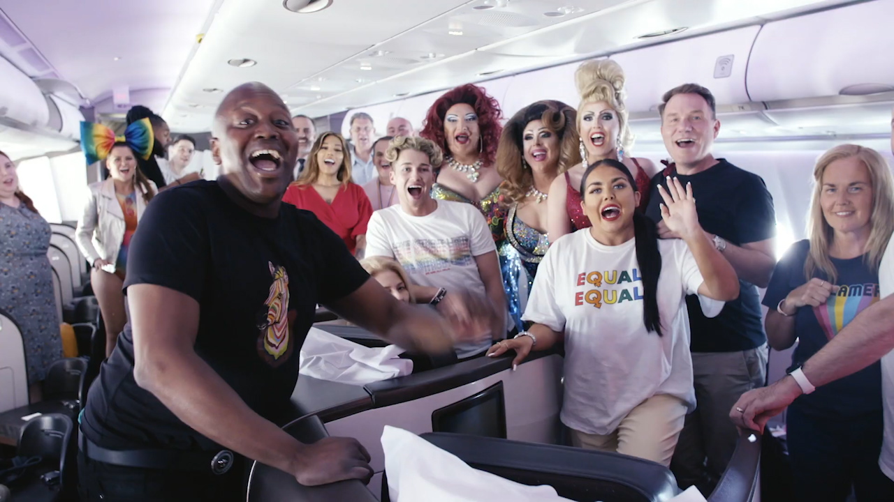 Virgin's Pride Flight takes to the skies