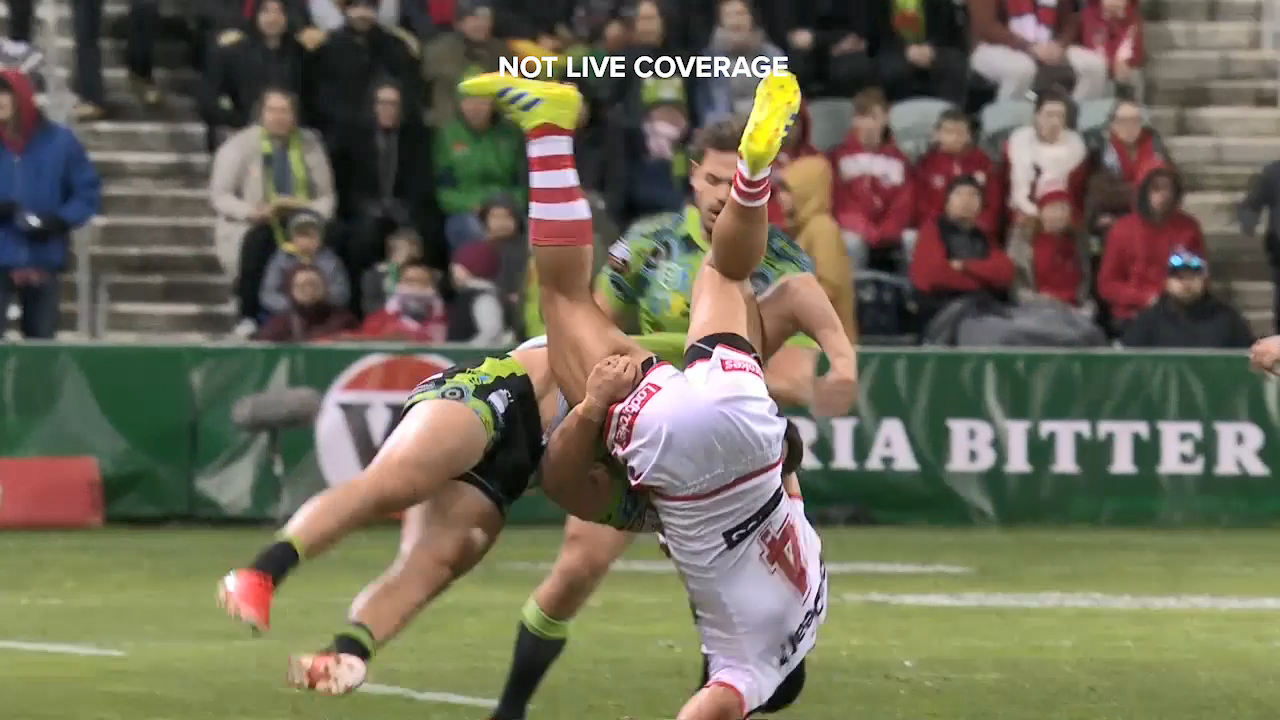 Canberra's Nick Cotric was sent off against the Dragons