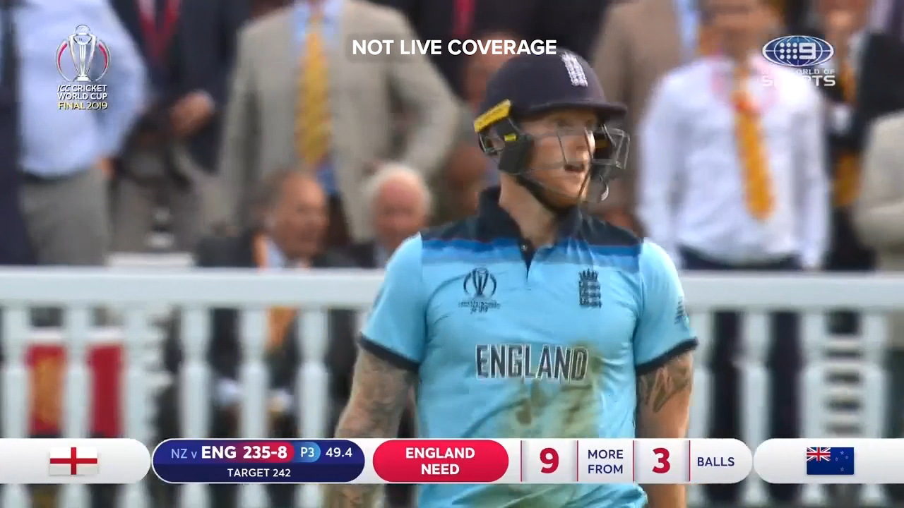 A 'six' to Ben Stokes, including four overthrows, proved the crucial moment of the last over of the World Cup final