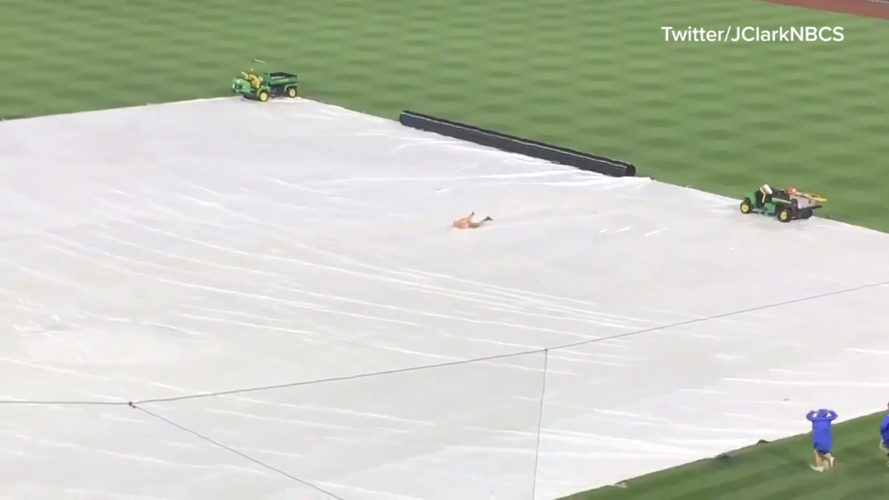 Streaker has fun during baseball rain delay