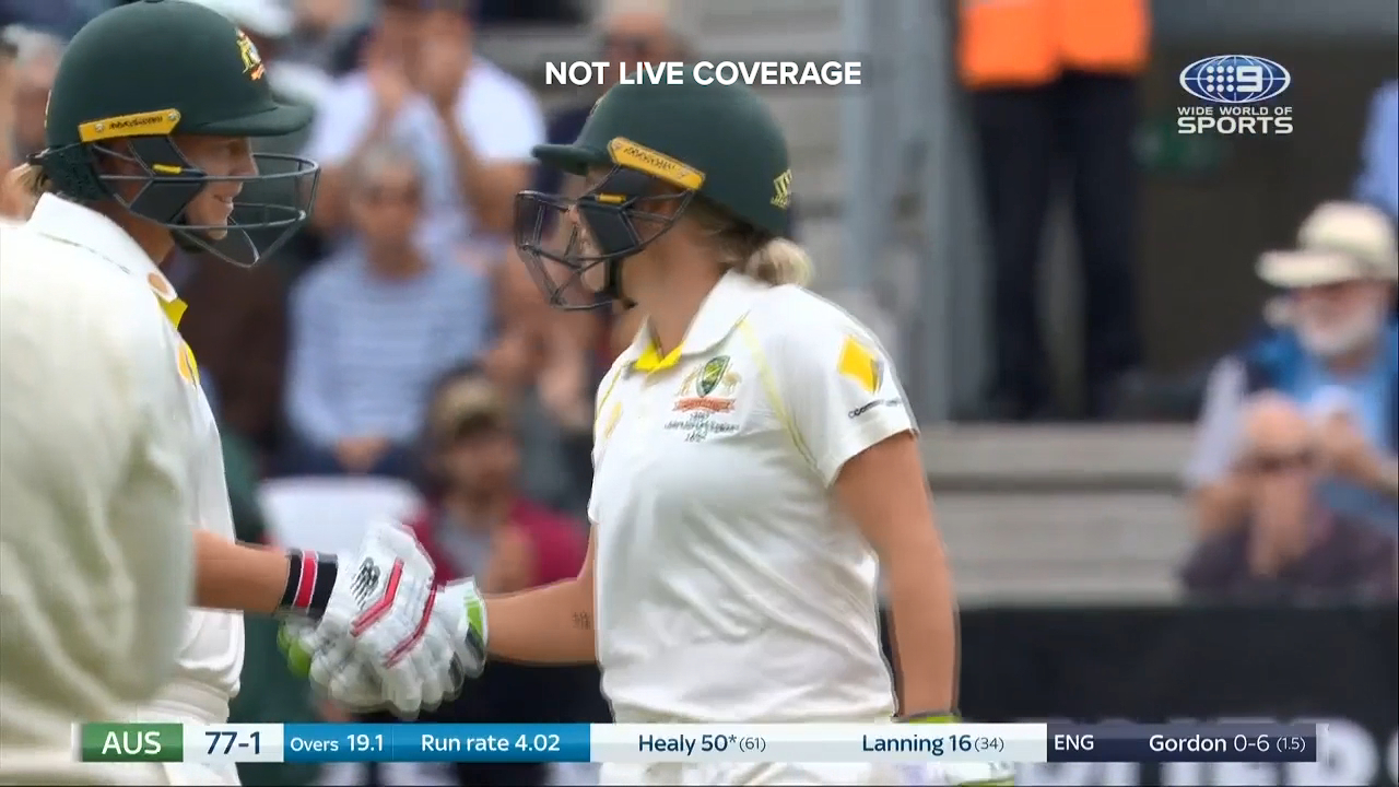 Alyssa Healy brought up a half century against England in the lone Ashes Test