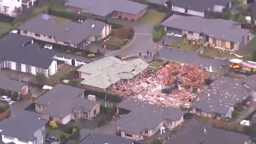 Explosion at Christchurch destroys family home