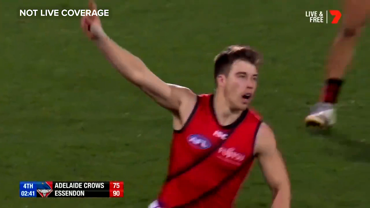 Essendon star Zach Merrett kicks a brilliant running goal to seal a miraculous comeback win against Adelaide