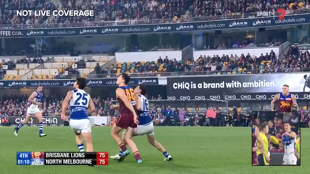 Brisbane Lions big man Oscar McInerney is awarded a free kick in the final minute against the Kangaroos