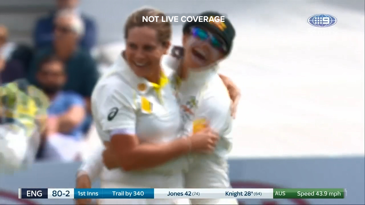 Sophie Molineux trapped England captain Heather Knight LBW for her first Test wicket