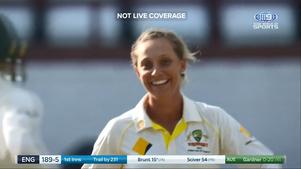 Ash Gardner claimed her maiden Test wicket against England with a ripping off break