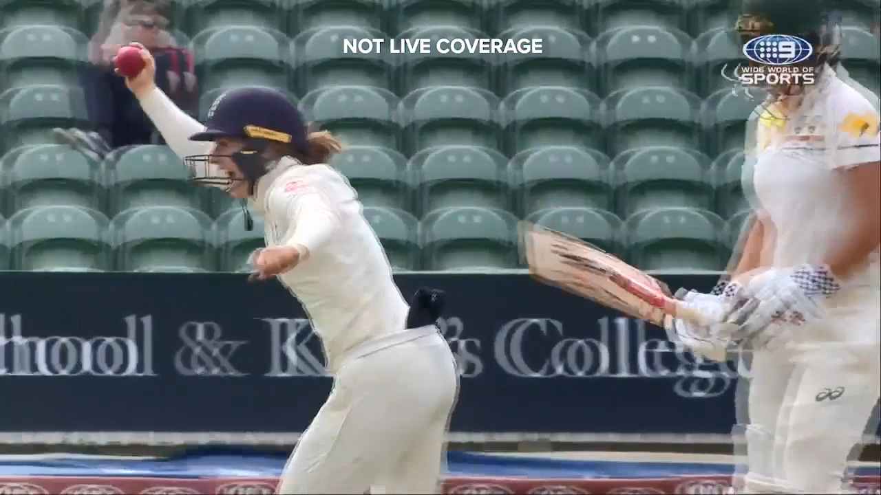 Tammy Beaumont took a smart catch under the helmet to dismiss Beth Mooney