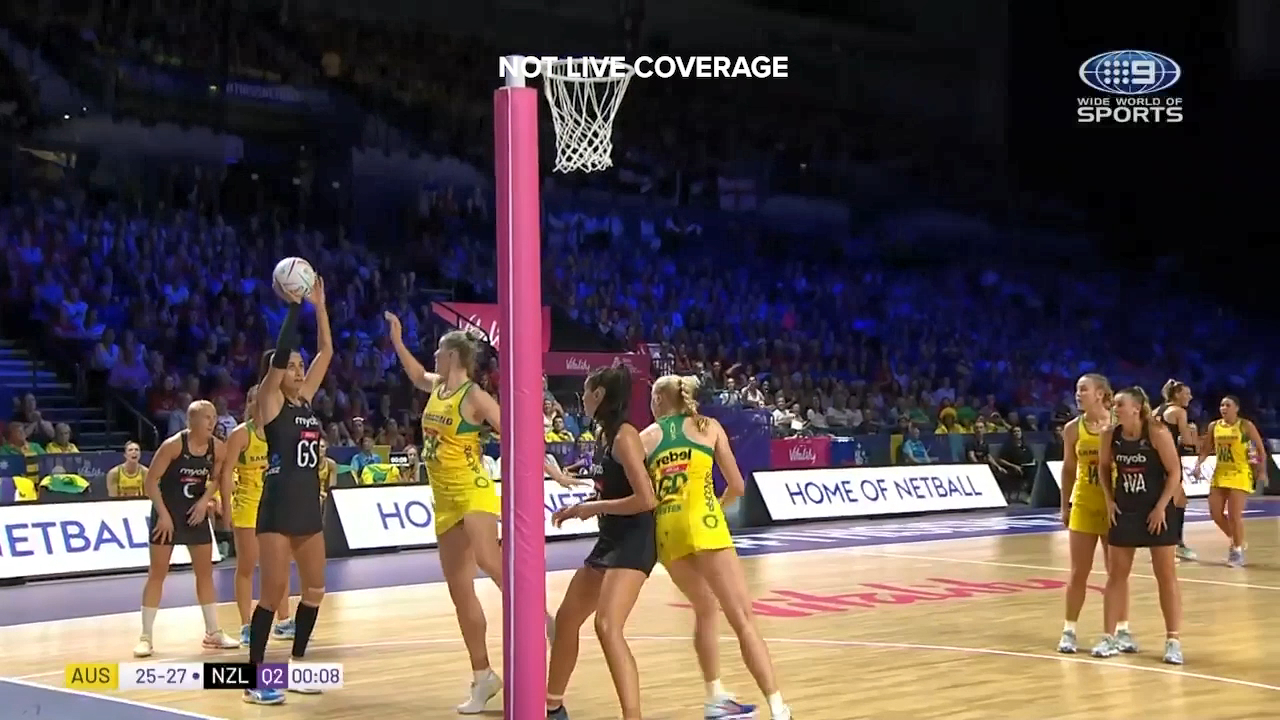 Maria Folau's massive second quarter fired the Silver Ferns to a half time lead in the World Cup final
