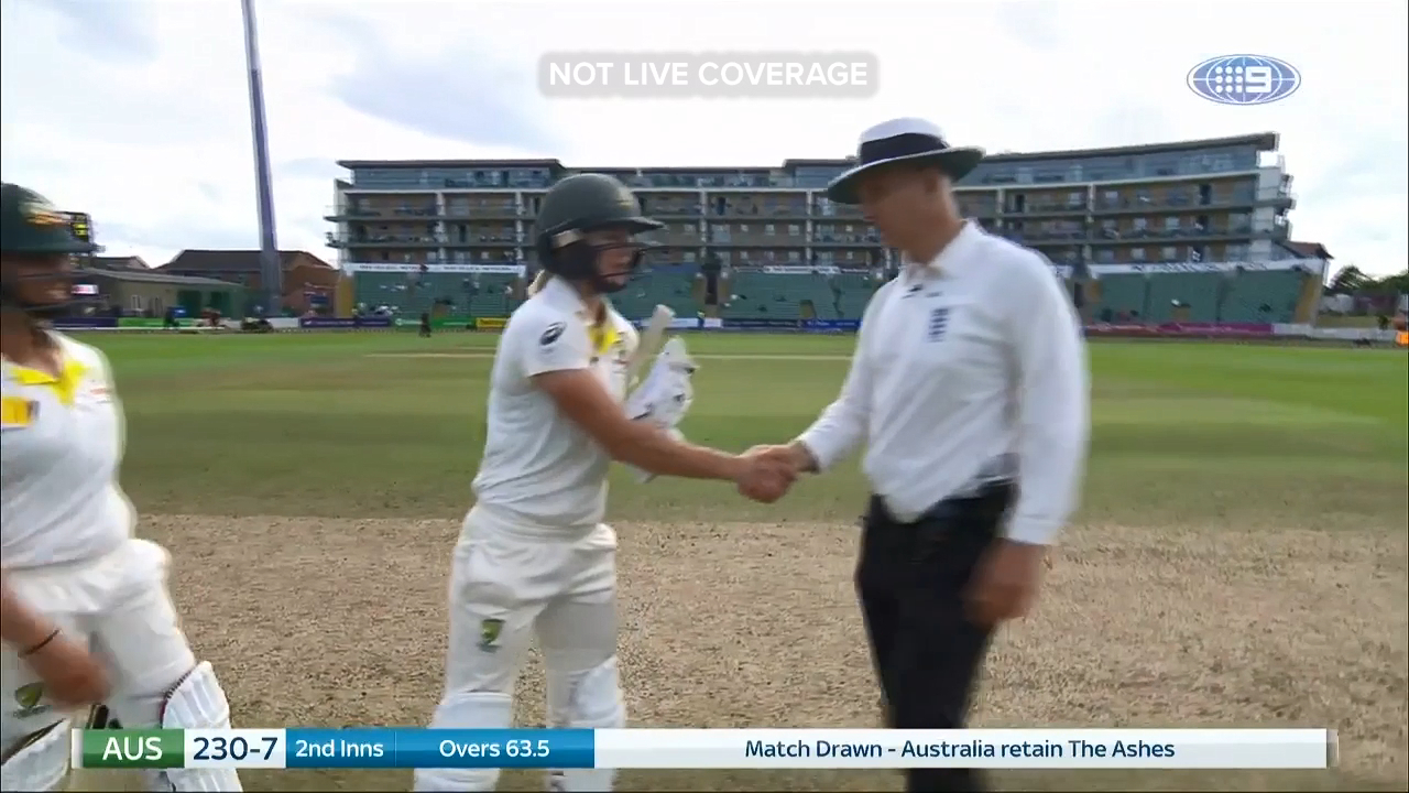 The Women's Ashes Test at Taunton ended in a draw, ensuring Australia retained the Ashes urn