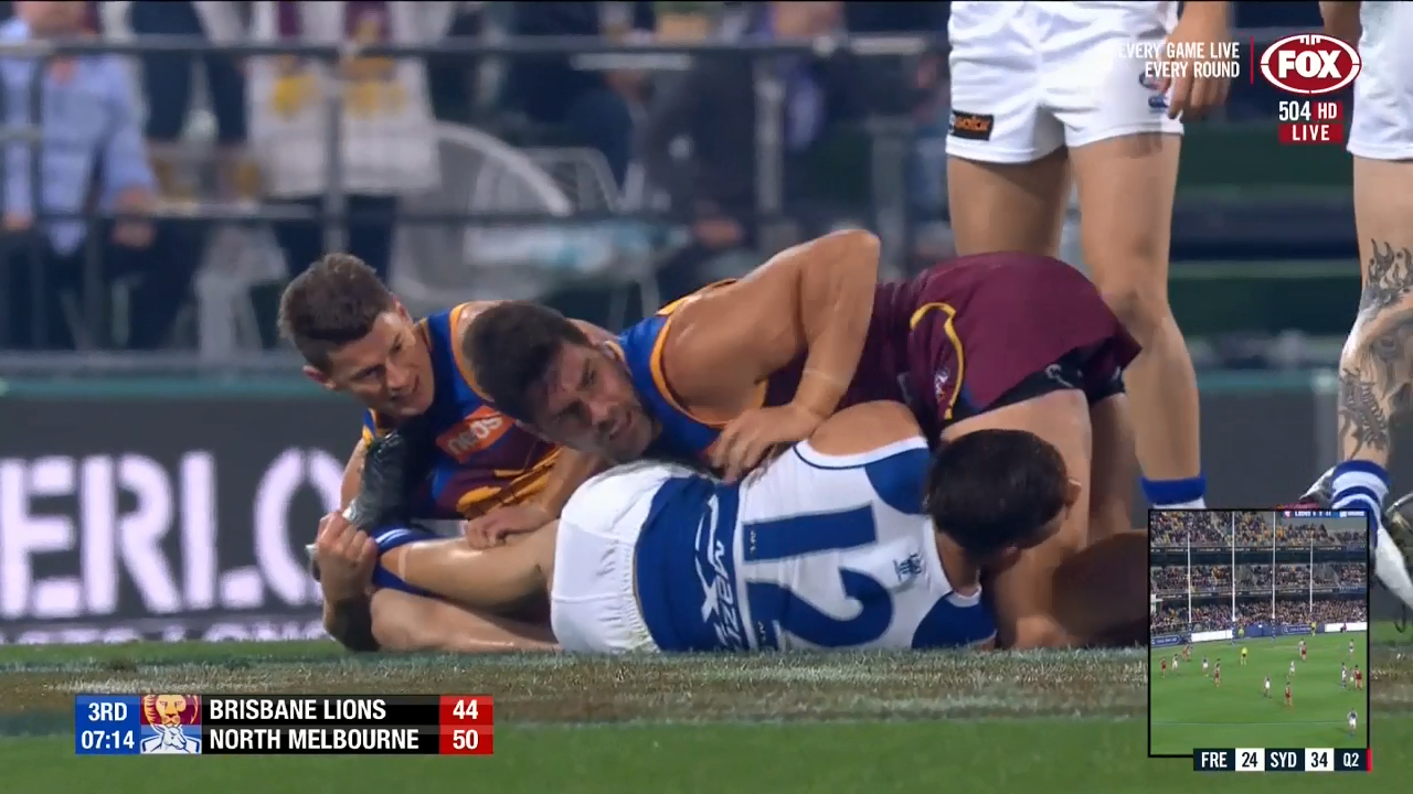 Brisbane Lions skipper Dayne Zorko is involved in a controversial incident with North Melbourne's Jy Simpkin