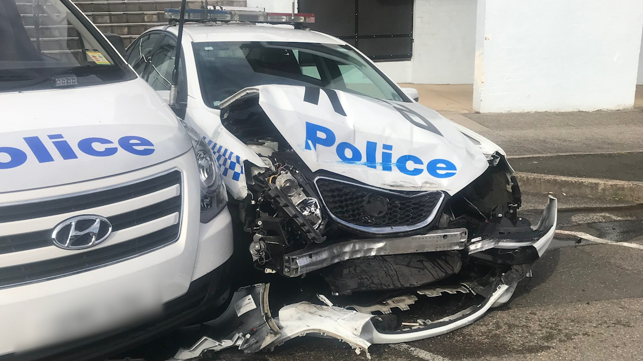 Van with allegedly $200m of drugs crashes into police car