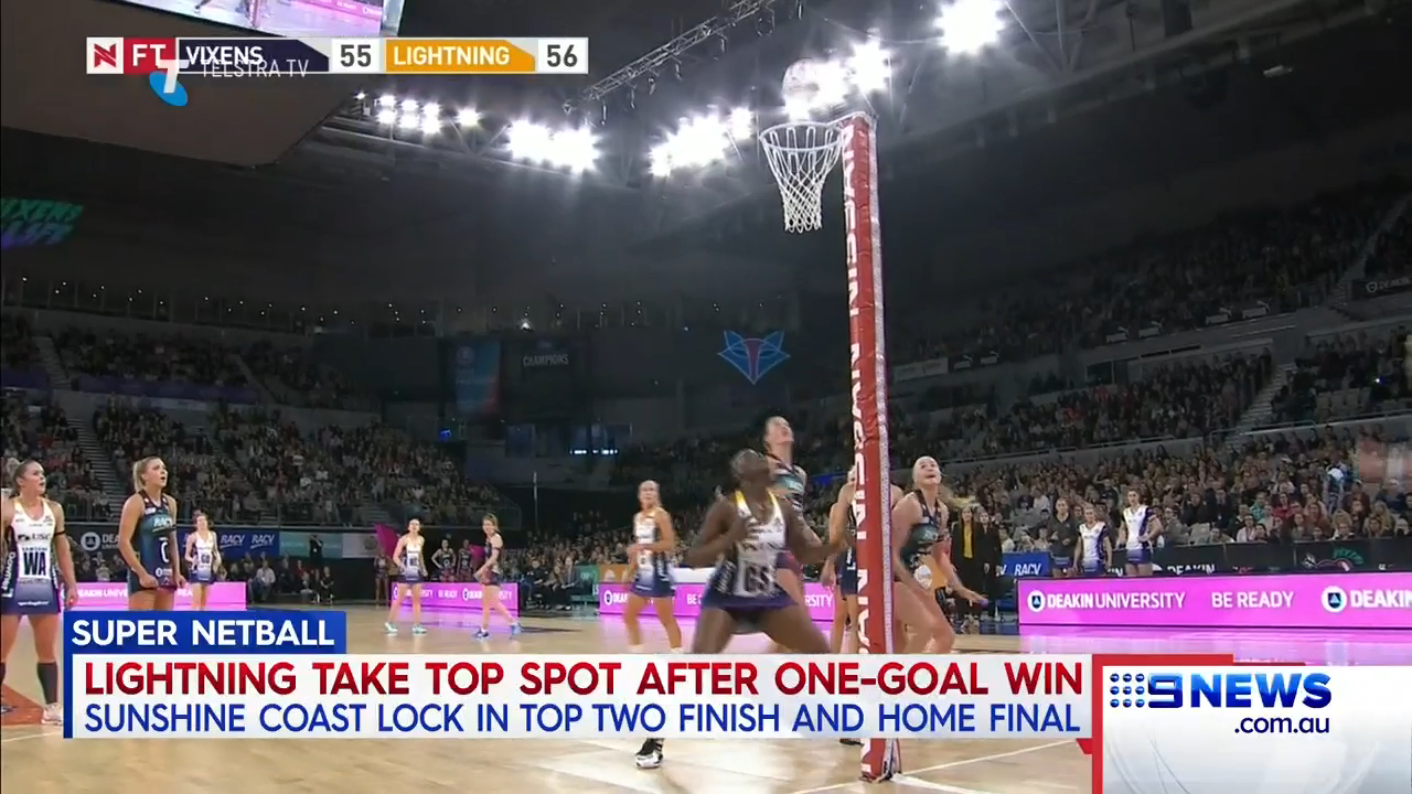 Lightning on top in Super Netball