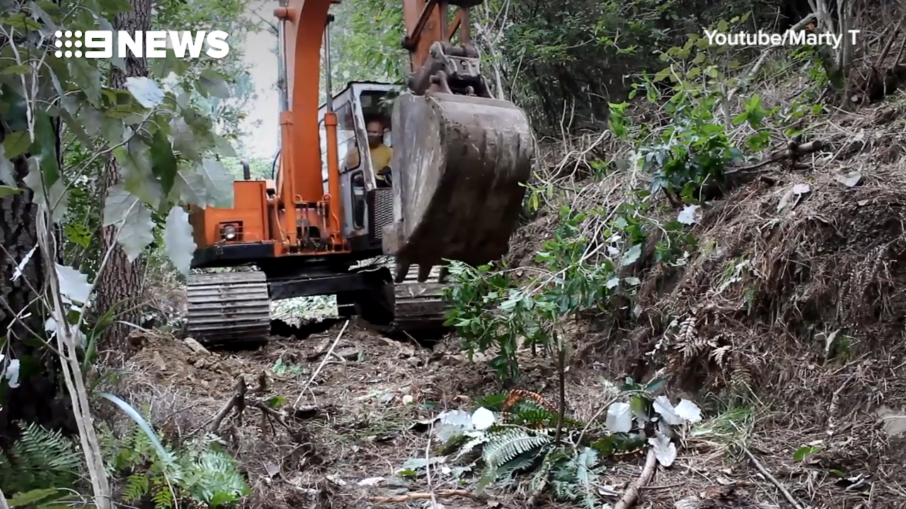 Man re-activates excavator abandoned for 16 years in forest