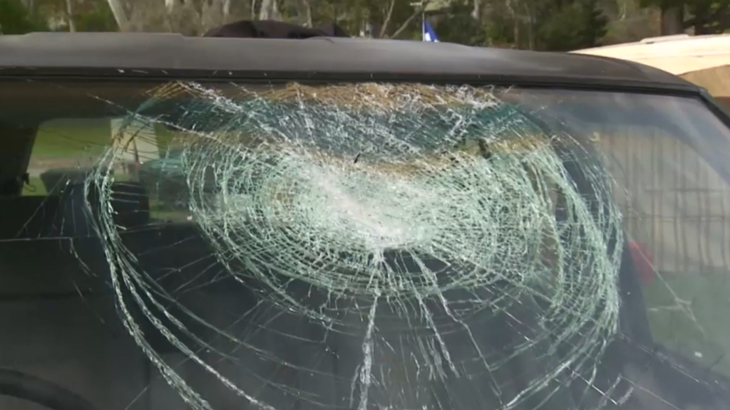 Family injured after brick was thrown into car
