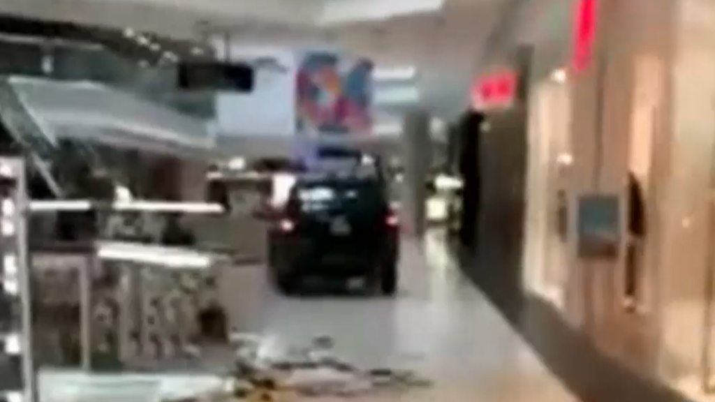 Car drives through busy US shopping centre
