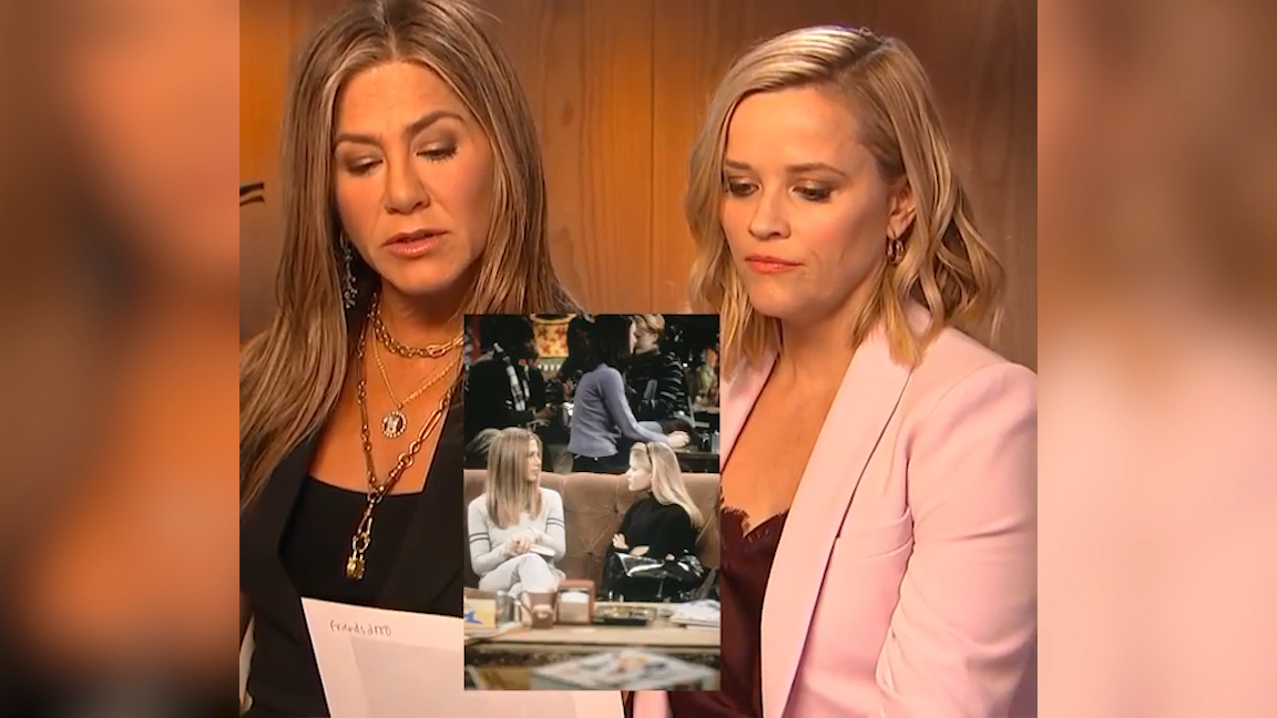 Jennifer Aniston and Reese Witherspoon reenact a scene from Friends