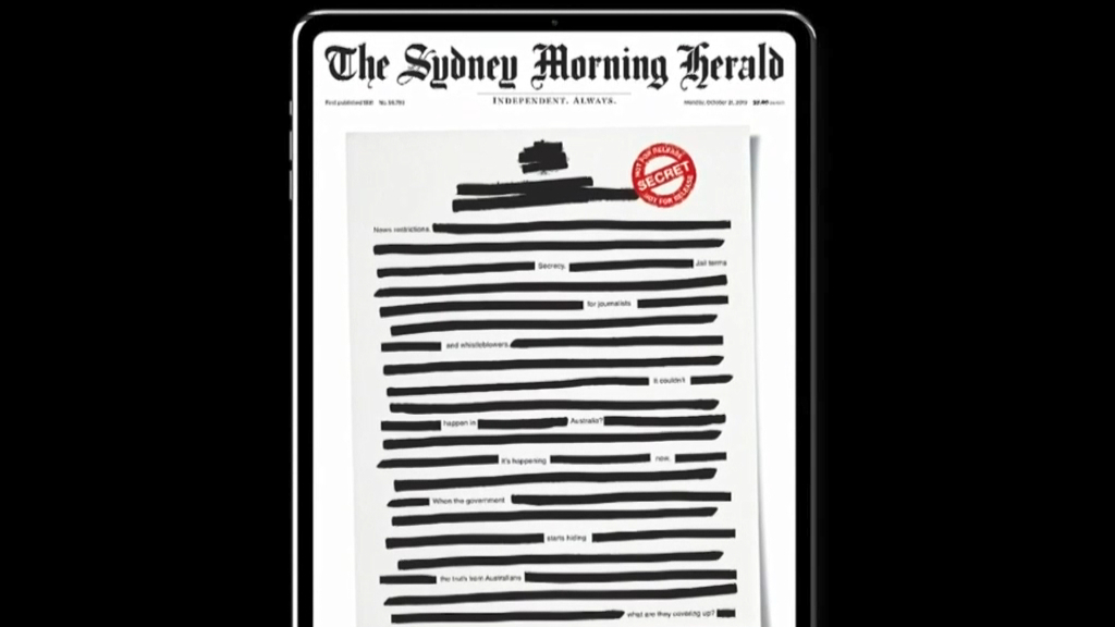 Australian papers go black to protest against media restrictions