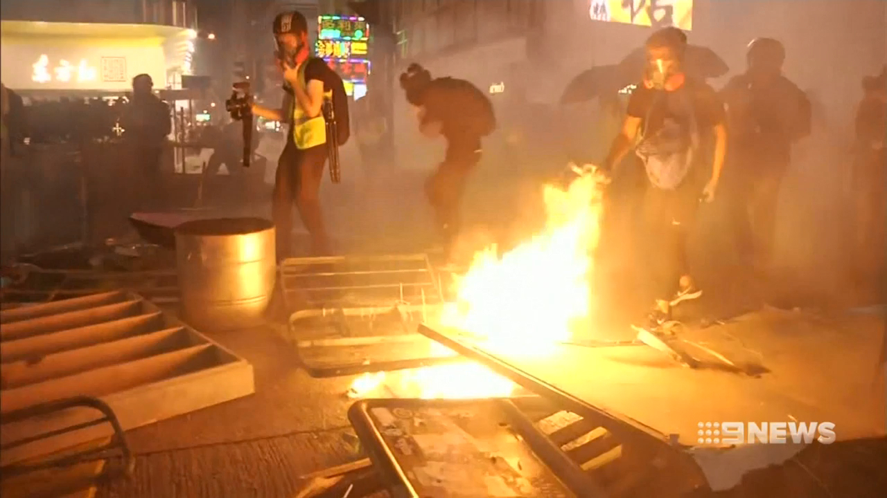 Hong Kong protesters throw petrol bombs