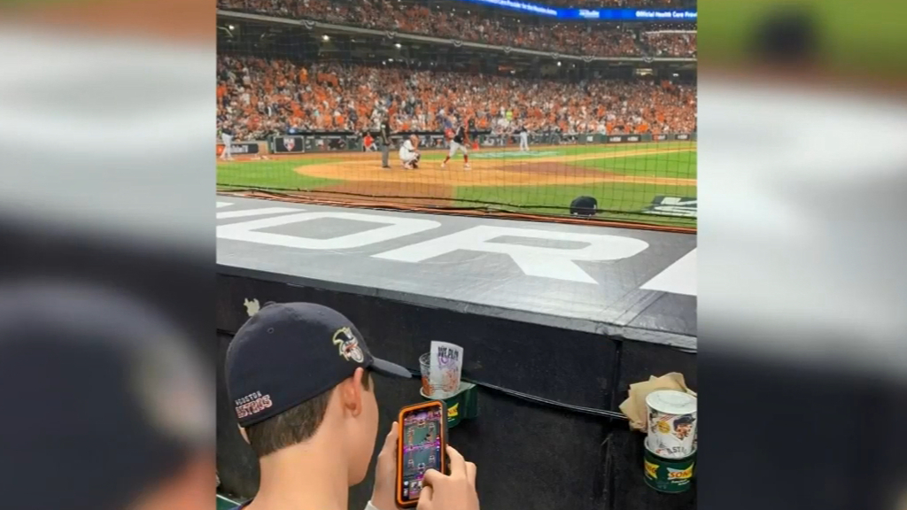 Phone kid ignores World Series