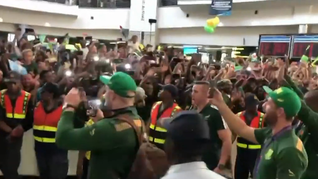 Springboks arrive home from RWC win