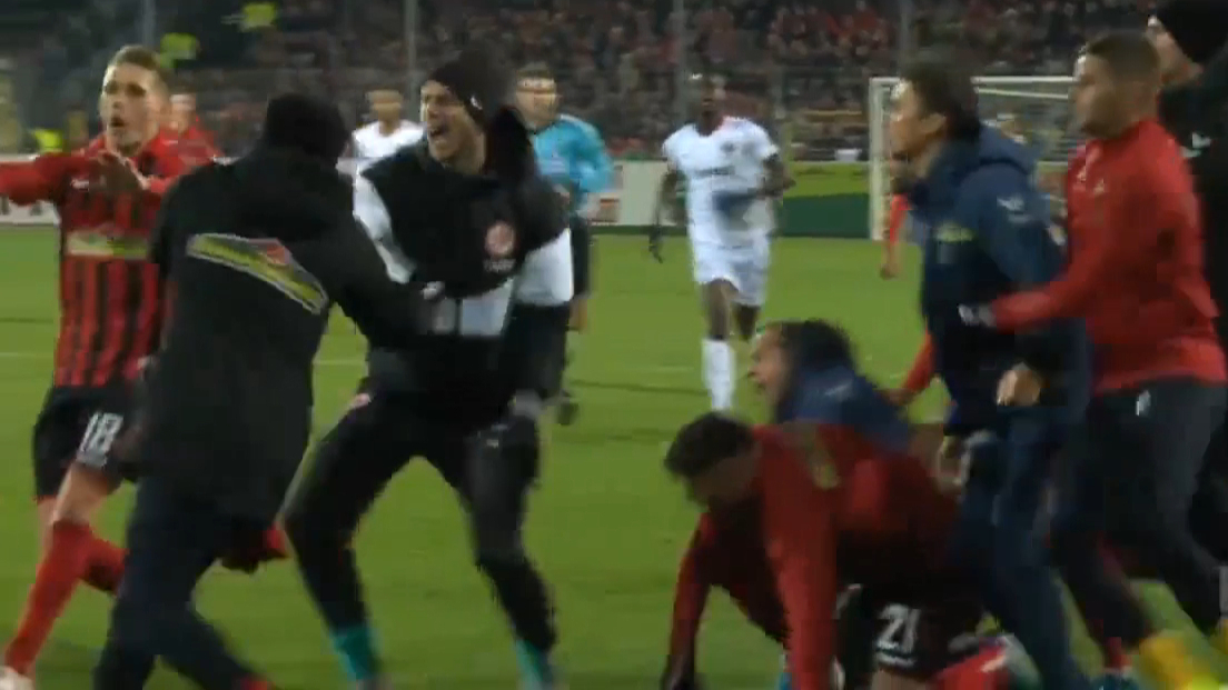 All-in Bundesliga brawl after coach shoved by player