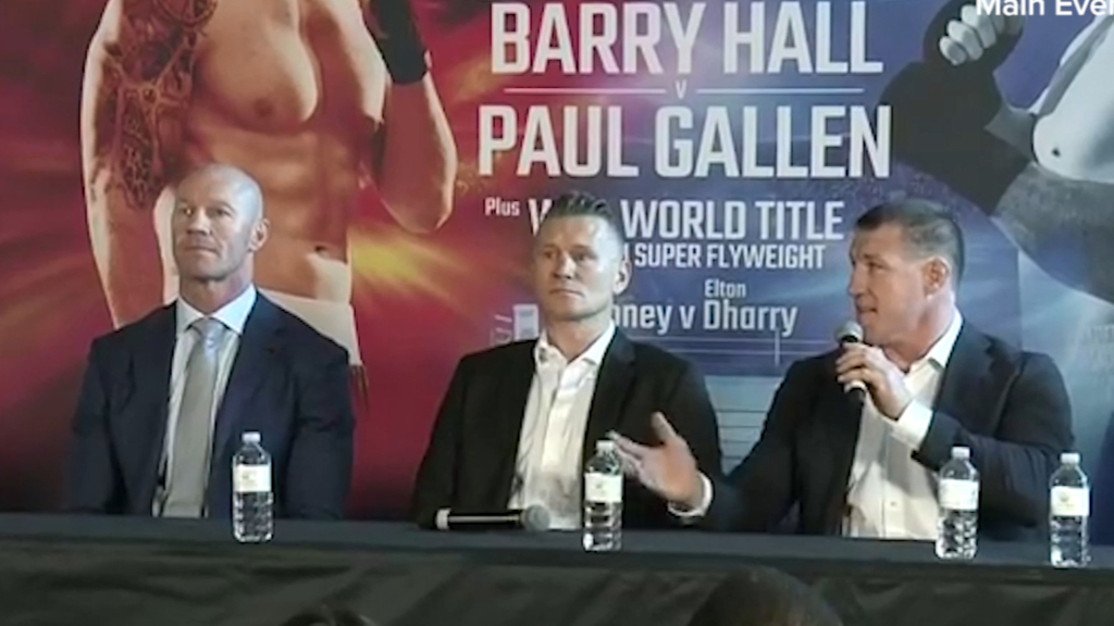 Paul Gallen and Barry Hall get heated at the press conference