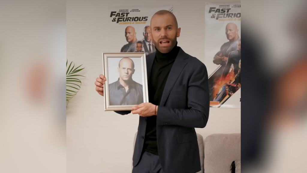 Matty J transforms into Jason Statham from 'Hobbs & Shaw'