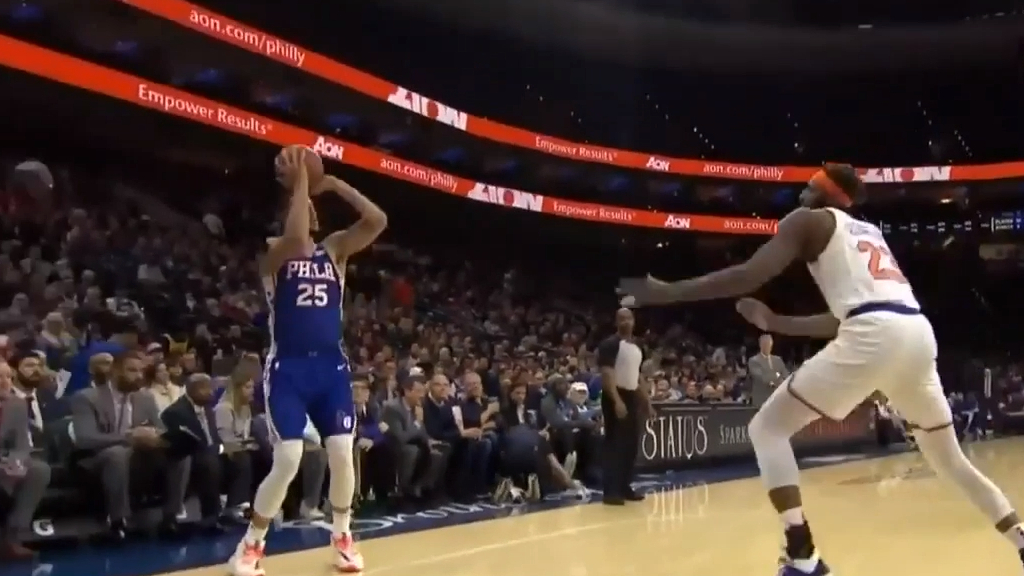 NBA erupt after Simmons' first 3-pointer