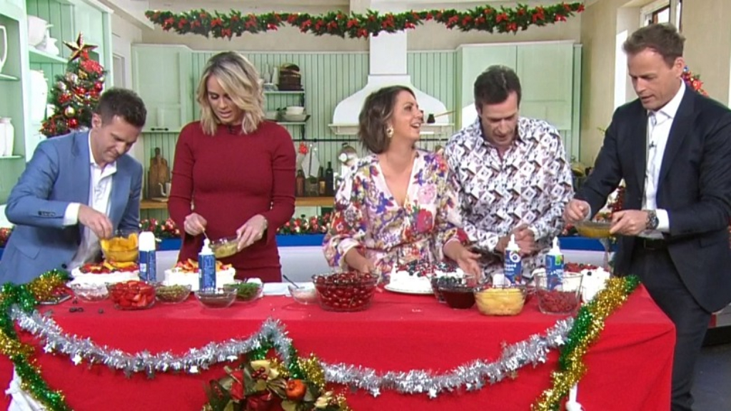 Today hosts compete for the best pavlova.