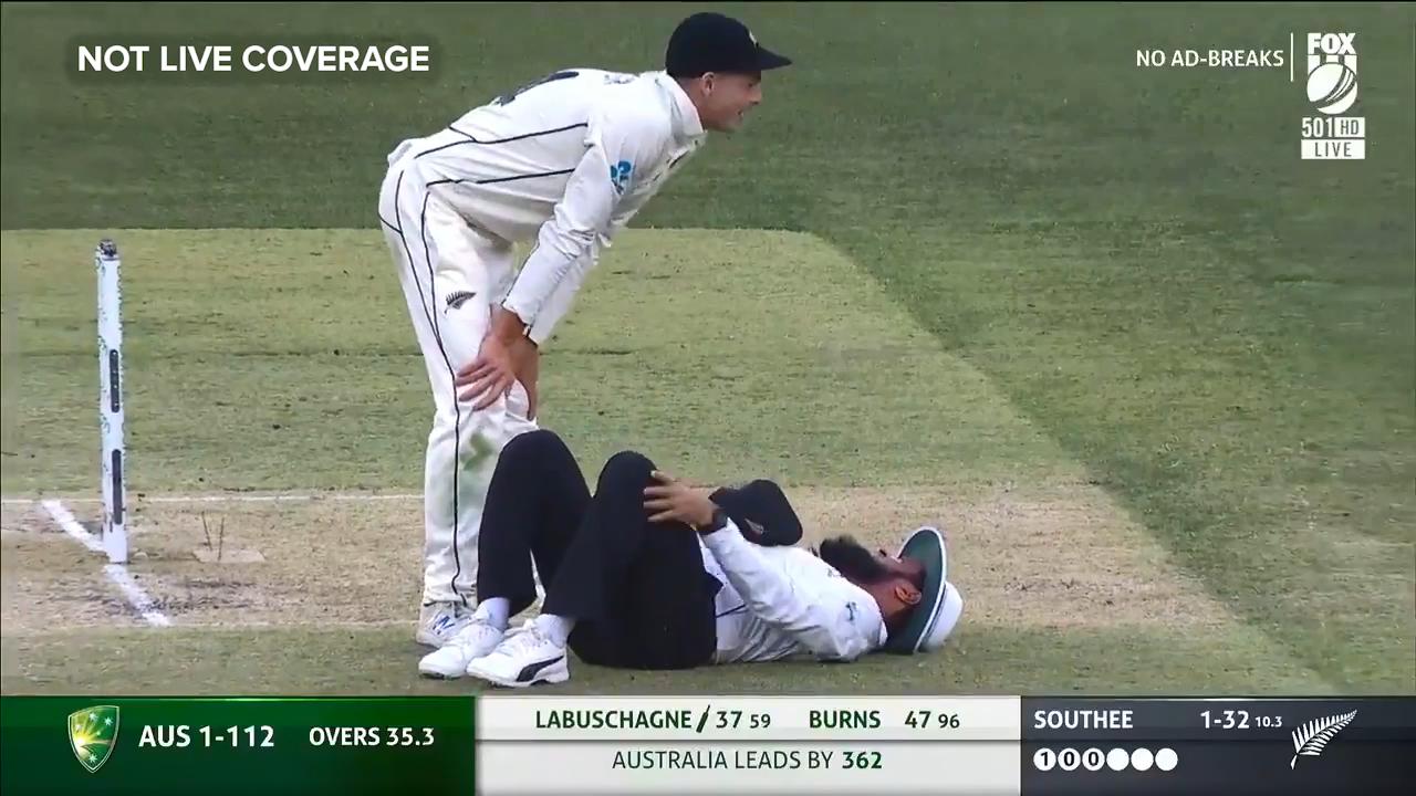 Umpire floored after brutal collision