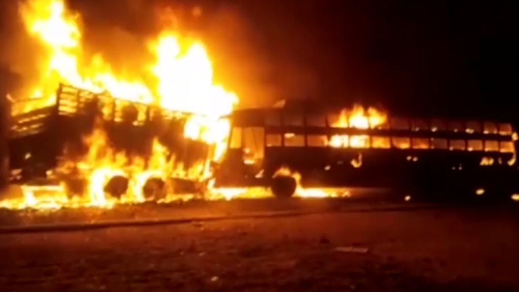 At least 20 dead after bus catches fire in India, police say