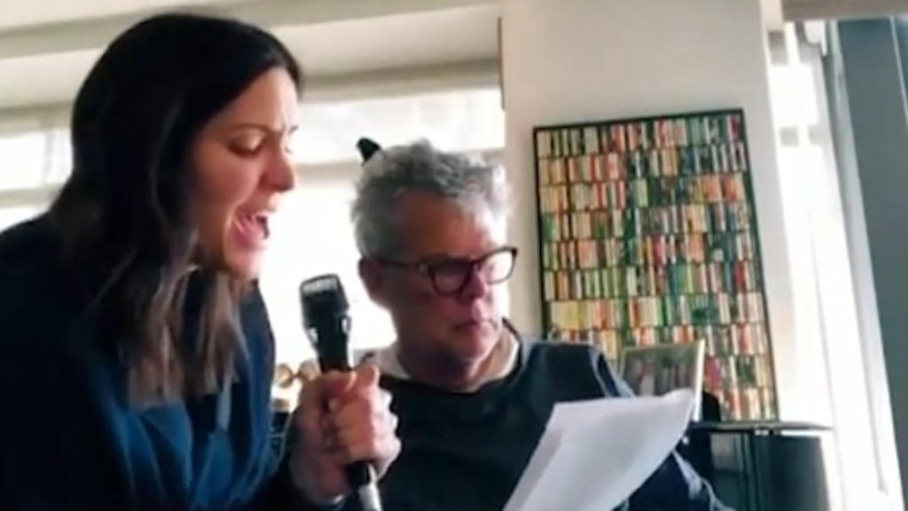 Katharine McPhee and David Foster rehearse for their stage show