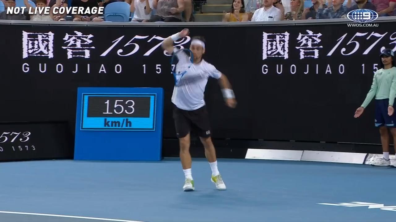 Fognini smashes racquet