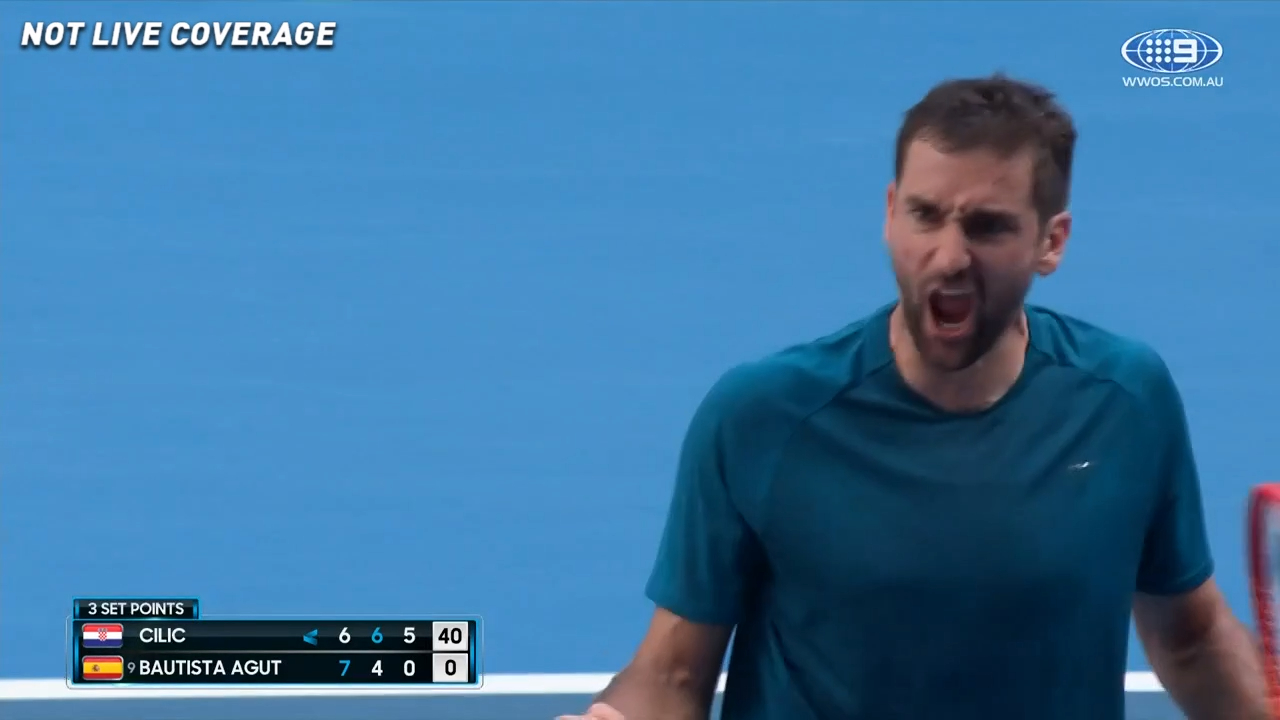 Cilic takes the third set in a bagel