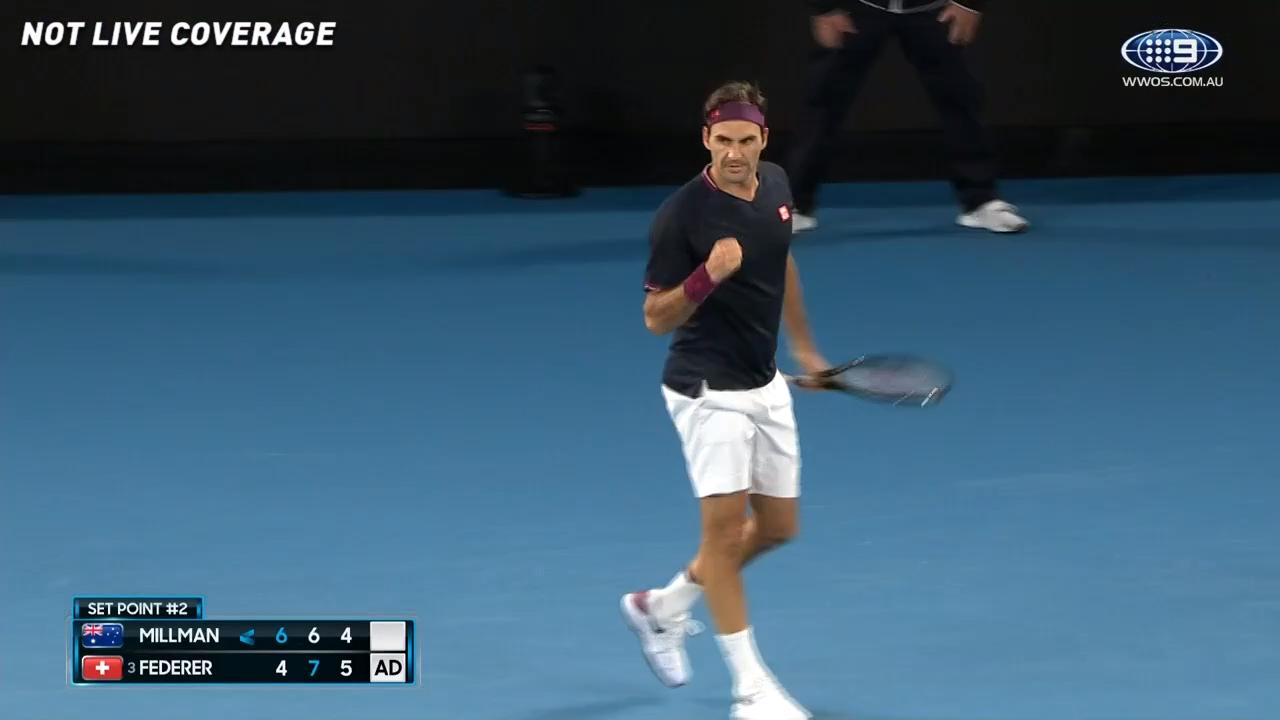 Federer takes the third set against Millman