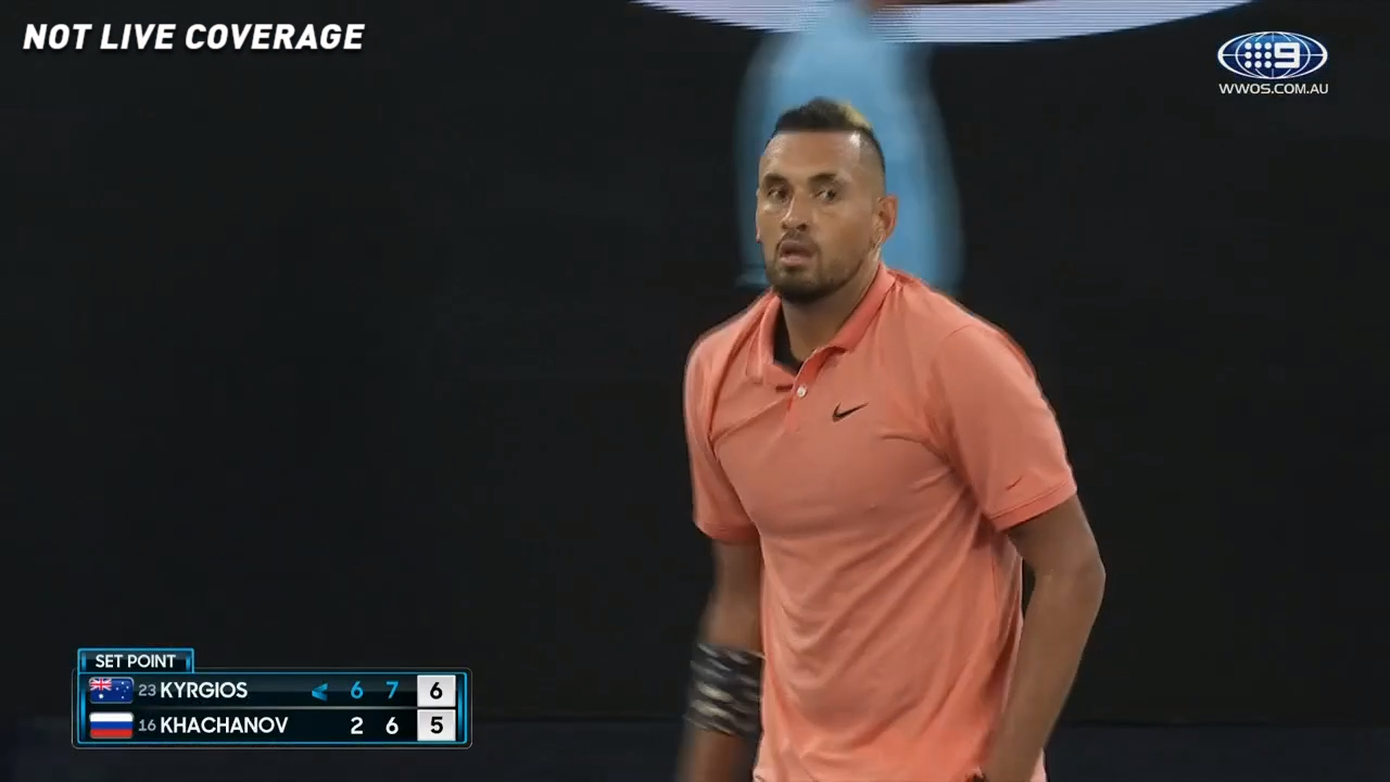 Kyrgios clinches the second set