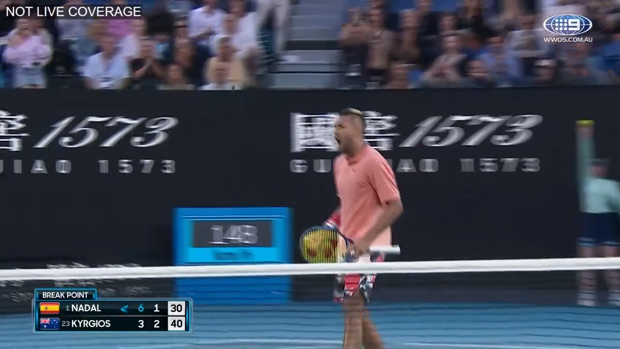 Kyrgios breaks Rafa in the second set