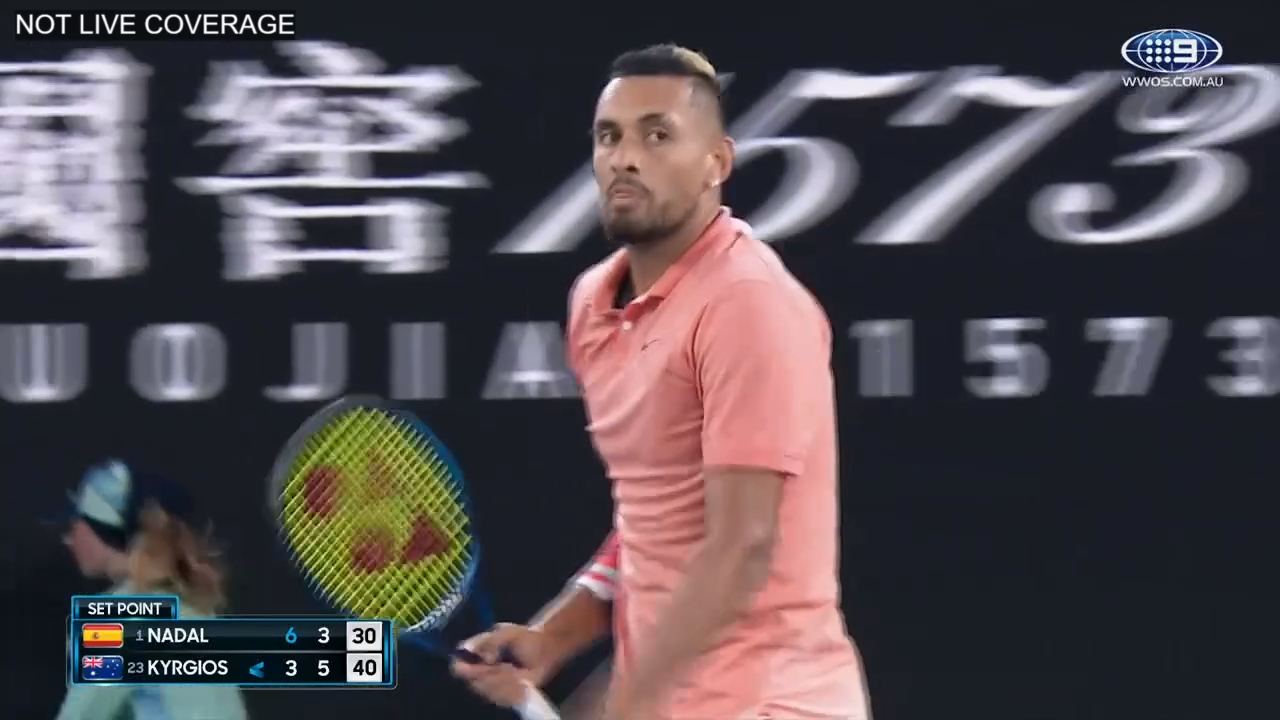 Kyrgios takes the second set against Nadal