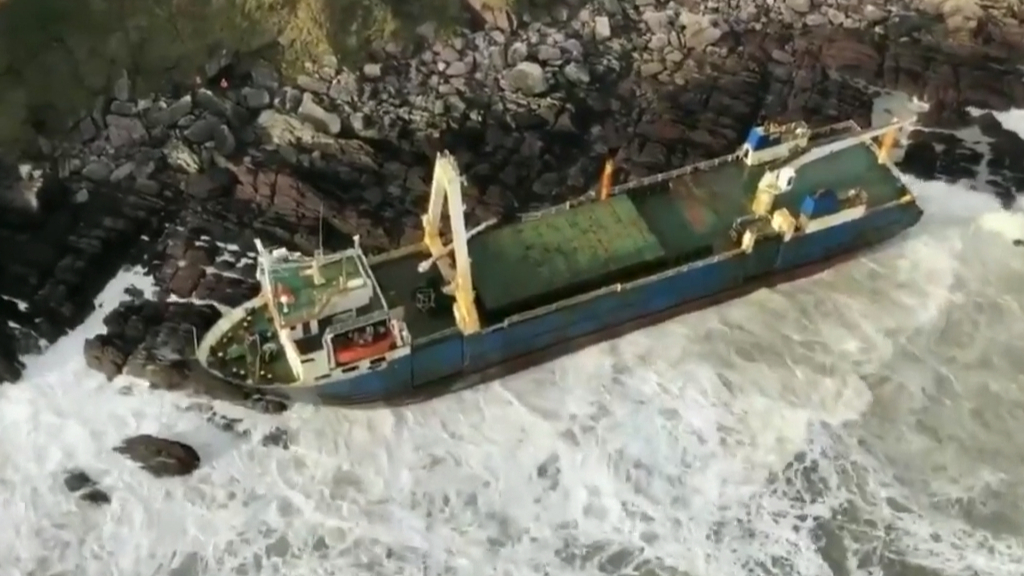 Ghost ship runs aground in Ireland