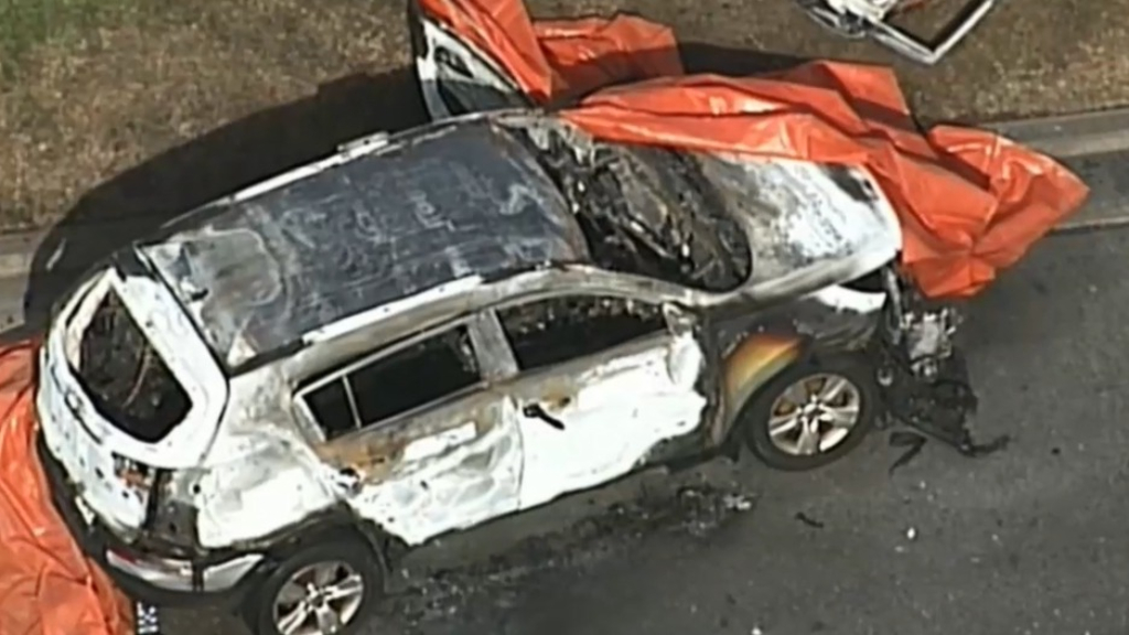 Children dead, mother injured after car set on fire