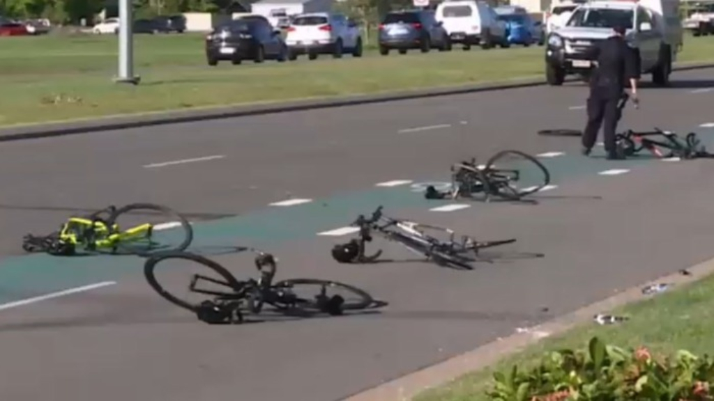 Car ploughs through group of cyclists