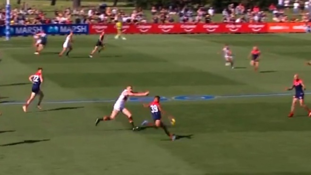 AFL: Former Essendon forward Mitch Brown kicks his first goal as a Melbourne player with a smart soccer finish