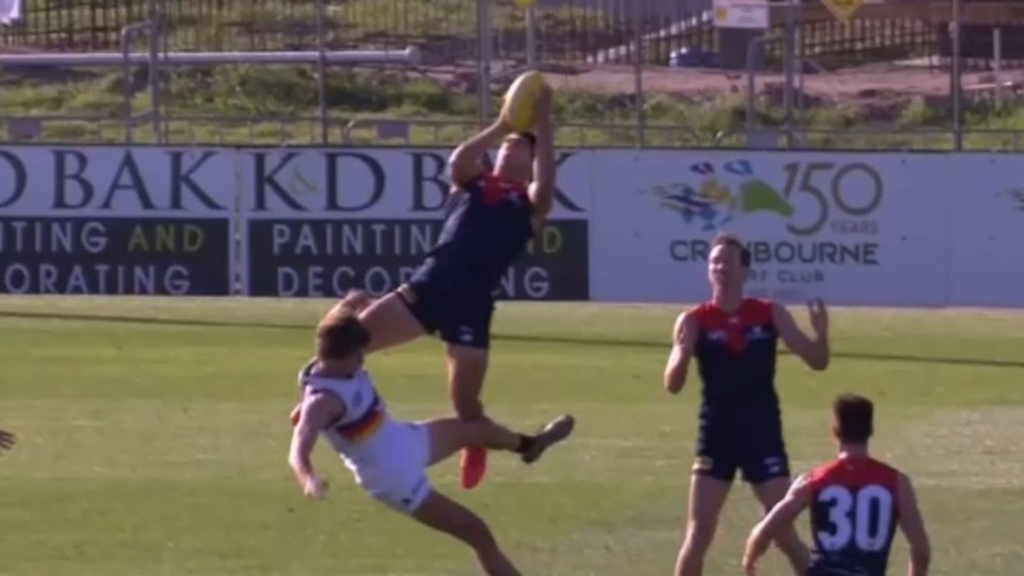 AFL: Melbourne star Christian Petracca shows why he is compared to Richmond's Dustin Martin with a high-flying mark