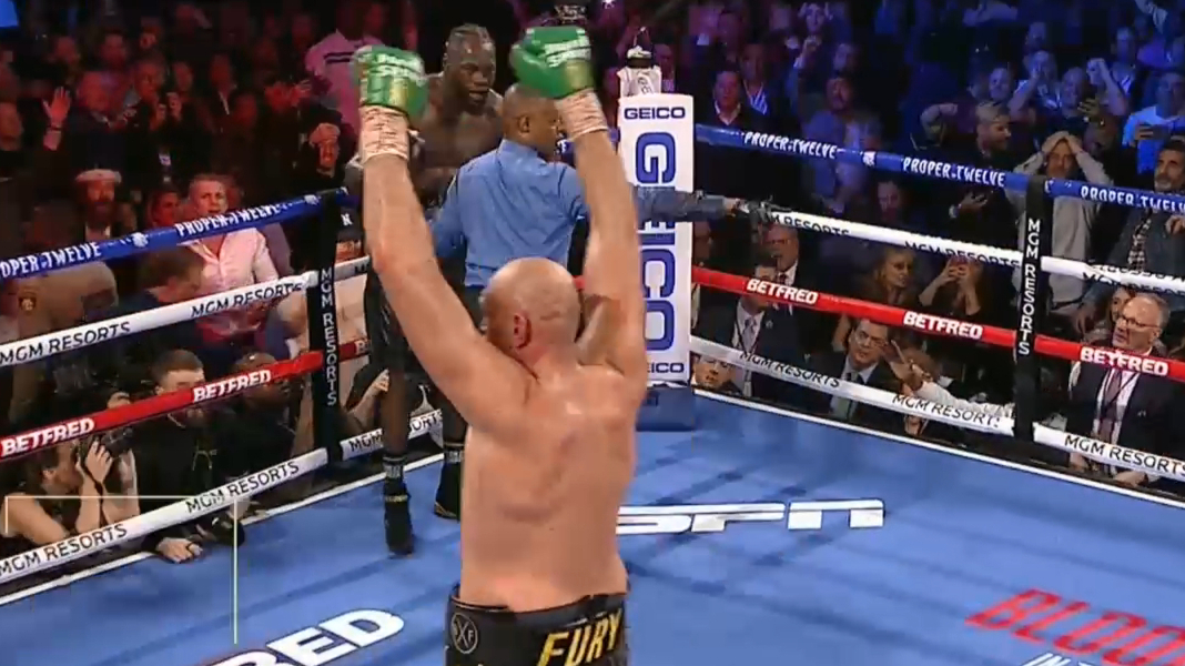 Tyson Fury wins via TKO