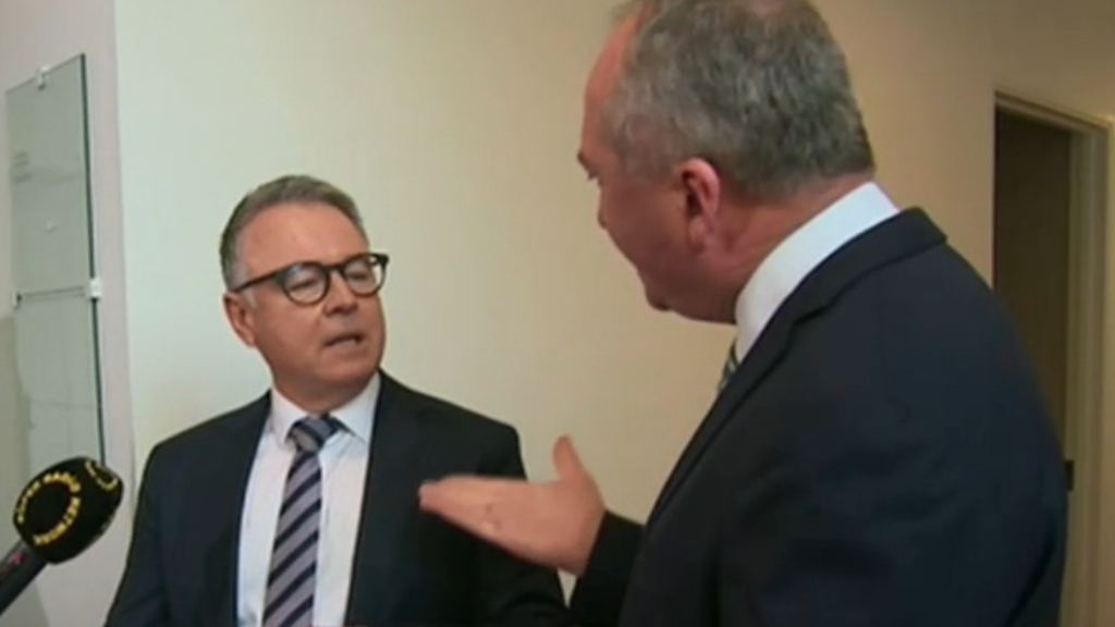 Barnaby Joyce and Joel Fitzgibbon spark heated argument in halls of parliament