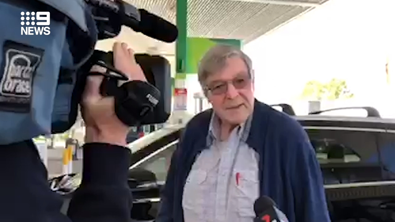 George Pell spotted at service station in Victoria