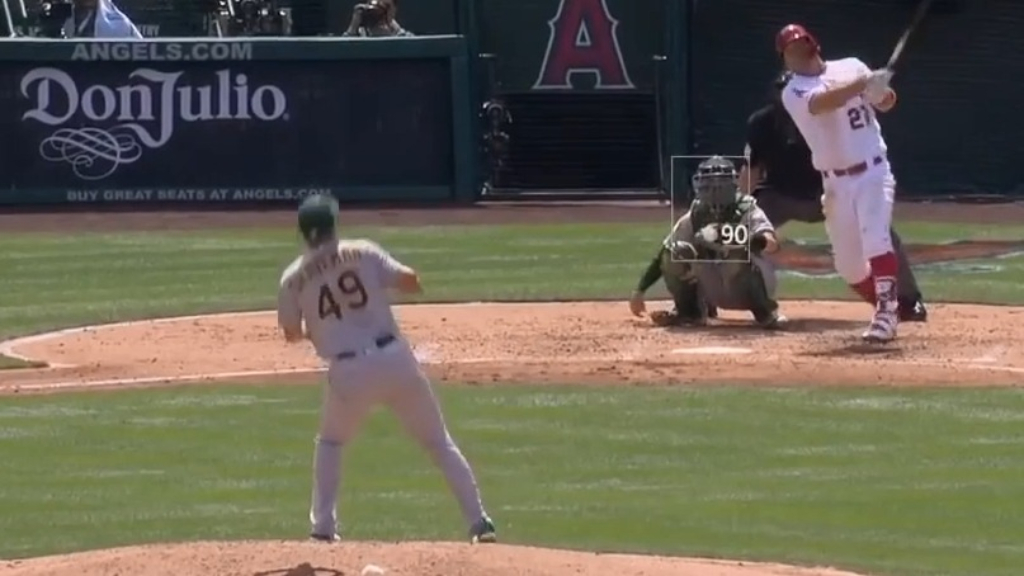 Mike Trout scores a home run